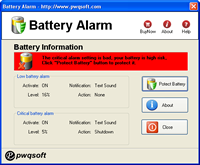 battery alarm bad setting